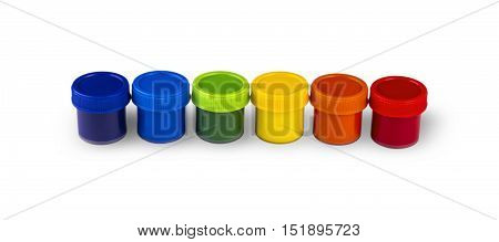Children's paints in jars isolated on a white background