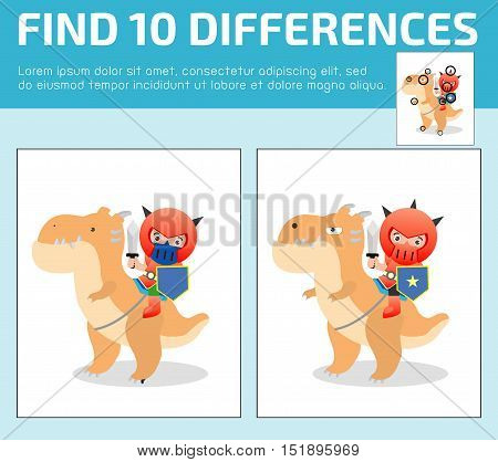 find differences,Game for kids ,find differences,Brain games, children game, Educational Game for Preschool Children, Vector Illustration, Knight sitting on a monster
