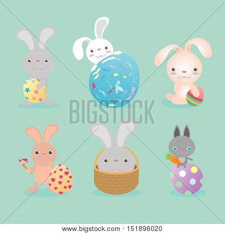 Set of cute Easter rabbits with Easter eggs, Happy Easter, Happy Easter banners with easter eggs, bunny and Easter eggs, Vector illustration.