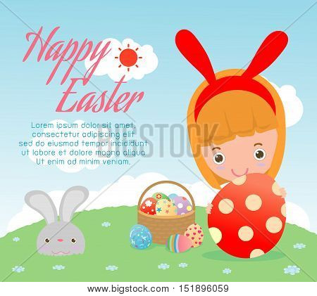 Happy Easter, kids and Easter eggs on background. Basket with rabbit and Easter eggs, child and Easter eggs, Easter eggs. Happy Easter banners with easter eggs Vector illustration.