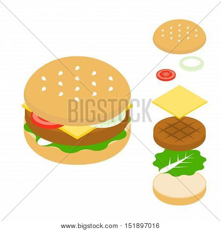 Vector cheeseburger and ingredient icon, flat design