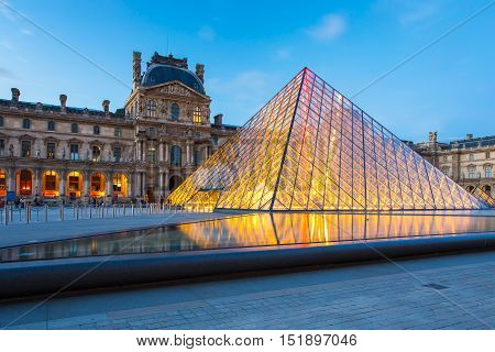 Louvre Museum In Central Of Paris, France.