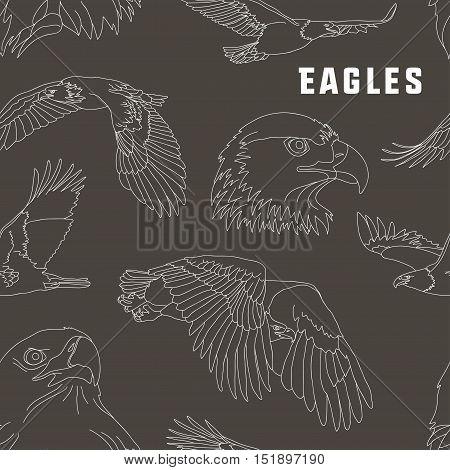 Set of eagles pattern. Flying eagle. Vector illustration, EPS 10