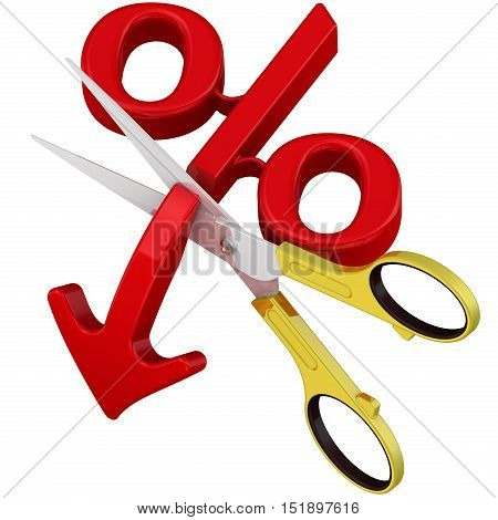 Stop falling percentage. Scissors cut the arrow pointing downward at the red symbol of percentage. The concept of the cessation of falling of the interest rate. Isolated. 3D Illustration