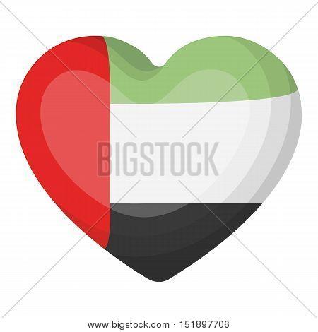 United Arab Emirates heart icon in cartoon style isolated on white background. Arab Emirates symbol vector illustration.