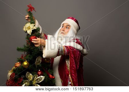 Santa claus man with white beard and hair in new year red suit decorates Christmas tree