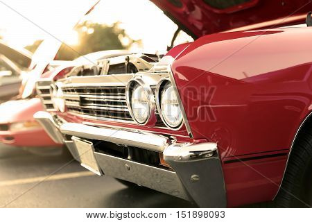 classic retro vintage red car. Auto show