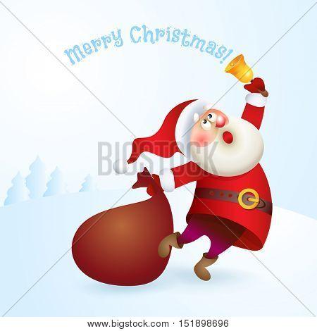 Santa Claus with a bag and bell. Vector Christmas illustration. Old man Santa character.