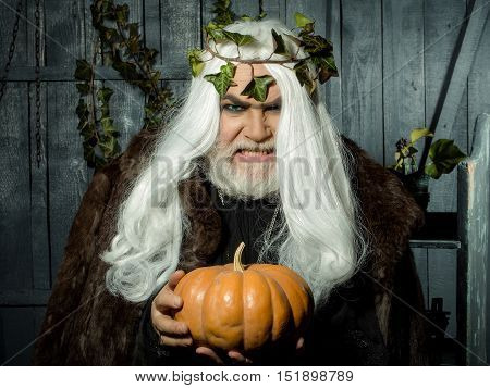 Evil Wizard With Pumpkin