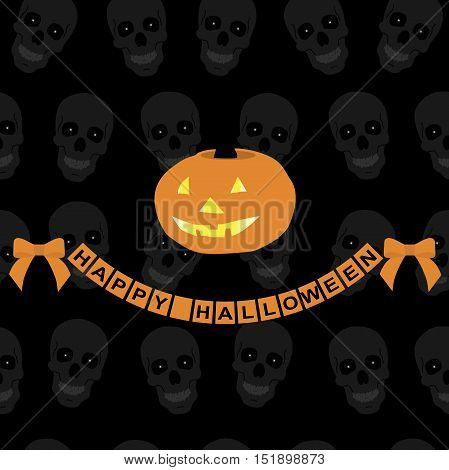 background for the decorations of Halloween. Pattern for greeting or invitation to a party. Lettering happy Halloween with a bow. Pumpkin smiles. Black background with skulls. Vector illustration