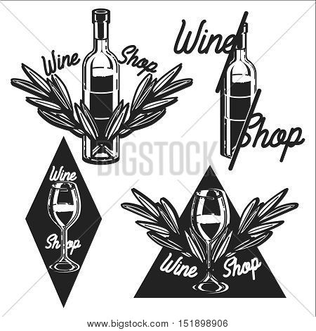 Wine shop and wine list set of vector monochrome labels, badges and emblems isolated on white background