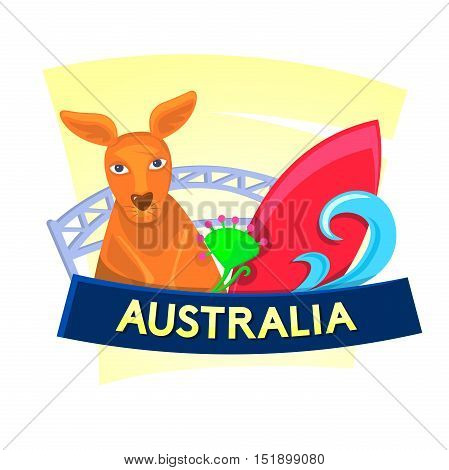 Australia Concept design with the sights of the country, vector illustration