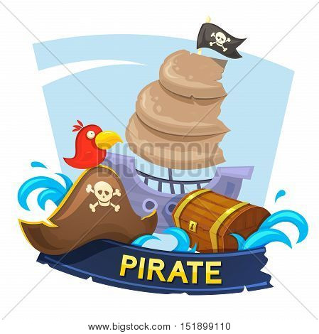 Pirate concept design with the attributes of piracy, vector illustration