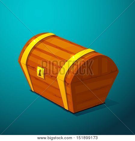 Closed treasure chest, pirate treasure, icon wealth vector illustration on blue background