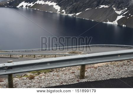 These are numerous serpentines of the road on the of Norwegian Mount Dalsnibba over the lake Dyupvatnet.