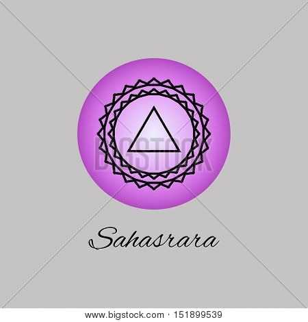 Sahasrara.Crown chakra.Seventh Chakra symbol of human. Vector illustration. Element human energy system. Yogameditationreiki and buddhism color simbol.