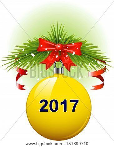Vector Yellow Christmas ball 2017. Isolated on white