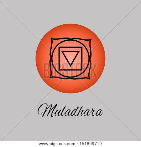 Muladhara.Root or base chakra. First Chakra symbol of human. Vector illustration. Element human energy system. Yogameditationreiki and buddhism color simbol.