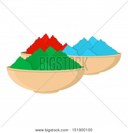 Colorful powder icon in cartoon style isolated on white background. India symbol vector illustration.