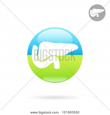 Pancreas medical icon on round plate human organ medical sign 2d vector illustration on white background eps 10