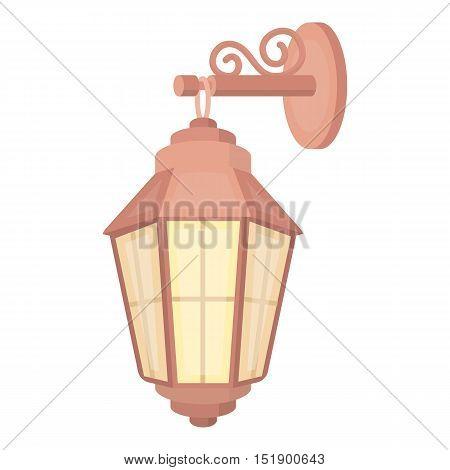 Street lantern icon in cartoon style isolated on white background. Light source symbol vector illustration
