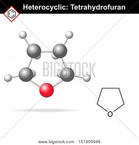 Tetrahydrofuran molecule - structural chemical formula and molecular structure 2d and 3d vector illustration scientific icon isolated on white background eps 8