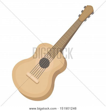 Acoustic guitar icon in cartoon style isolated on white background. Musical instruments symbol vector illustration
