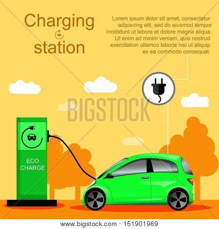 Flat vector illustration of an electric car charging at the charger station. Electromobility e-motion concept. Eco fuel and gasoline.