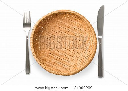 Cutlery Set with wicker plate. On white background
