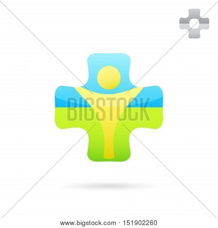 Medical cross logo with human body inside medical logo concept 2d vector illustration isolated on white background eps 10