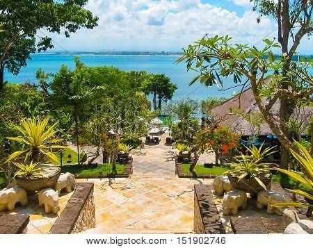 Jimbaran Bali Indonesia - April 14 2014: View of the The main entrance at Four Seasons Resort Bali at Jimbaran Bay
