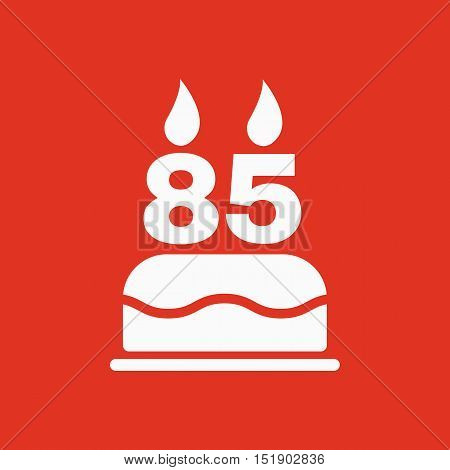 The birthday cake with candles in the form of number 85 icon. Birthday symbol. Flat Vector illustration