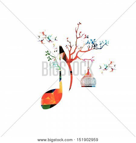 Creative music template vector illustration, colorful crotchet with music notes, music background. Musical design symbol for poster, brochure, banner, flyer, concert, music festival, music shop design
