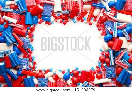 Assorted sweet candies on white background
