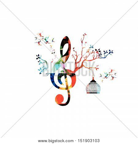 Creative music template vector illustration, colorful G-clef with music notes, music background. Musical design symbols for poster, brochure, banner, flyer, concert, music festival, music shop design