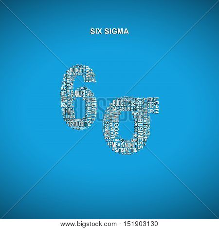 Six sigma diagonal typography background. Blue background with main title 6 sigma filled by other words related with six sigma method
