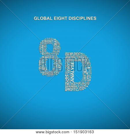 Global eight disciplines diagonal typography background. Blue background with main title 8D filled by other words related with global eight disciplines method