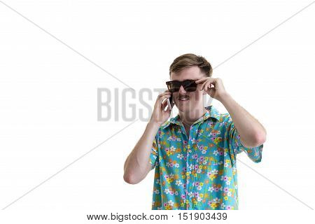 One Guy In Hawaii Dress Using Smartphone Relaxing Sitting With Isolated White