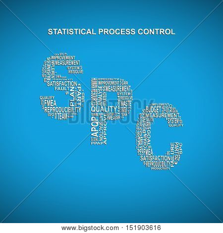Statistical process control diagonal typography background. Blue background with main title SPC filled by other words related with statistical