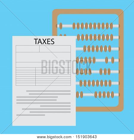 Calculation of taxes. Accounting money tax forms taxation and calculator. Vector illustration