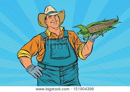 Rural farmer with an ear of corn, pop art retro vector illustration. Agriculture and the harvest