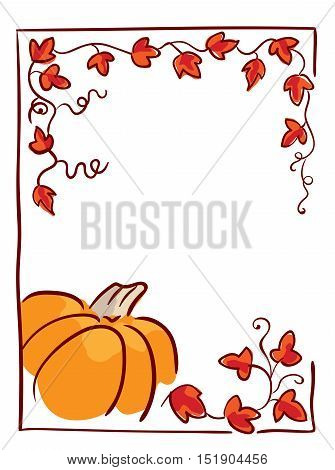 Pumpkin with tendrils and large lobed leaves. Halloween greeting or invitation card vertical template, hand drawn sketchy illustration. Red, orange and brown colors, isolated on white