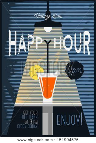 Neo Vintage Happy Hour Poster  For Advertising. Cocktail Glass Under The Beam Of Light Illustration. Distressed Inscription. Halftone Stripes Background. Vector Image.