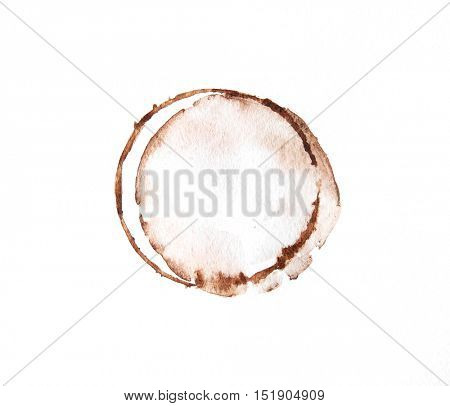 Coffee cup rings on white background