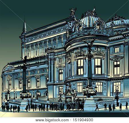 Paris, opera Garnier at night - vector illustration