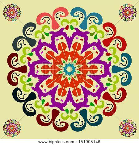 Vector Image. Bright mandala. Meditative Asian style