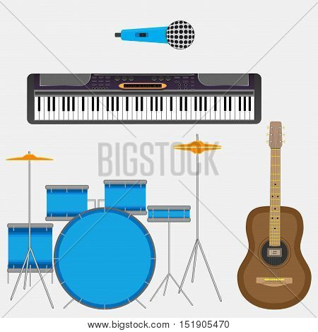 Musical instruments guitar and synthesizer.Musical instruments isolated piano and drums vector illustration