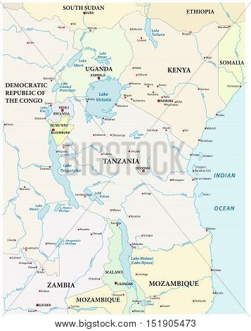 vector map of the great African lakes