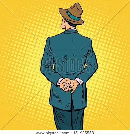 Retro male back, pop art vector illustration