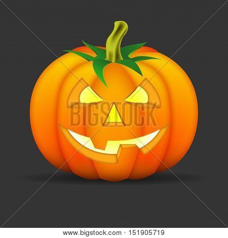 halloween pumpkin on black background terrible pumpkin vector